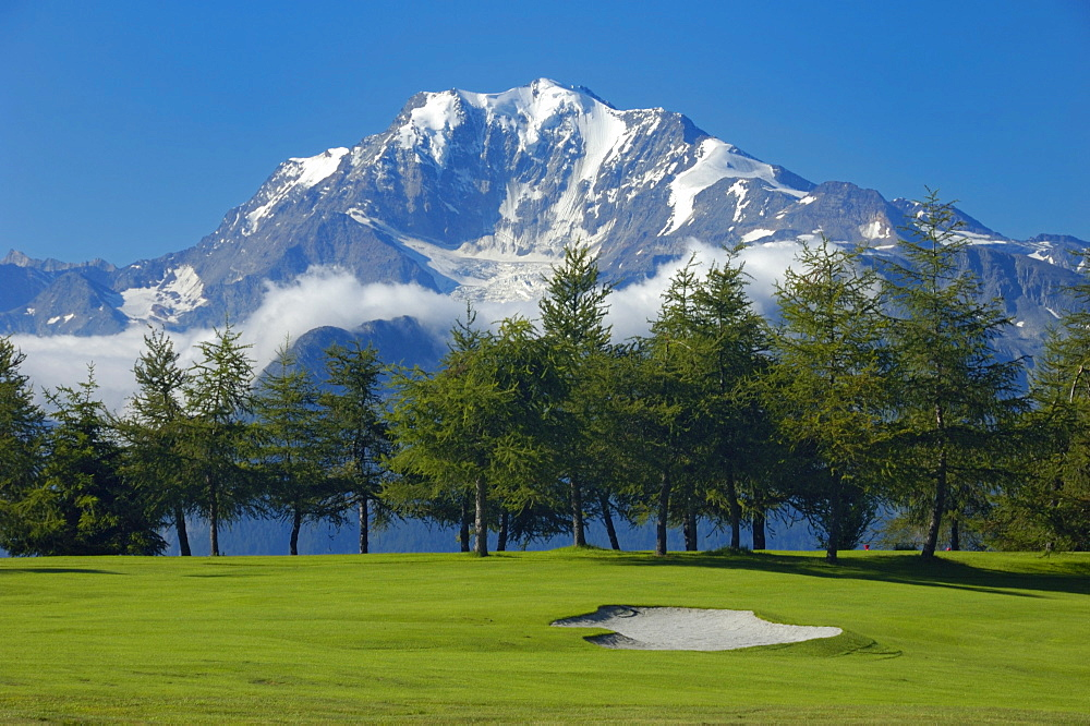 Golf course Riederalp, Valais, Switzerland, Europe