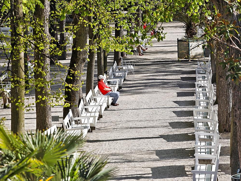 Park bench in the spa park in Baden, Lower Austria, Austria, Europe