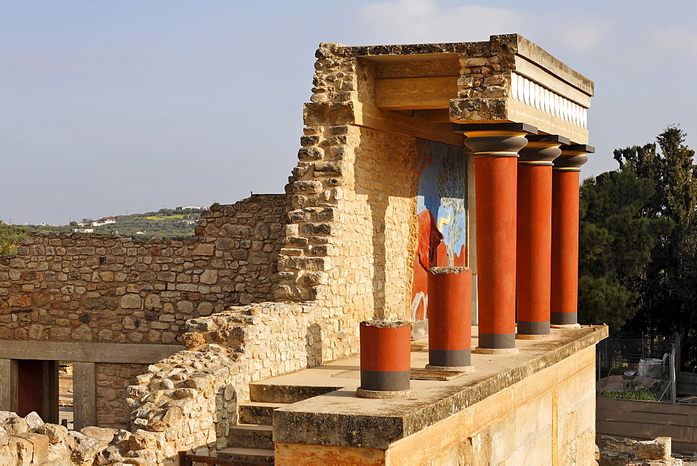 Northwest entrance to the Palace of Knossos, Crete, Greece, Europe