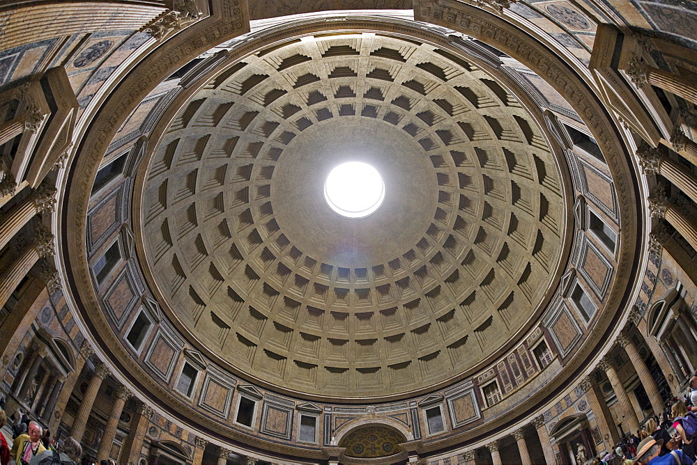 Cupola, interior view of the Pantheon, Rome, Italy, Europe