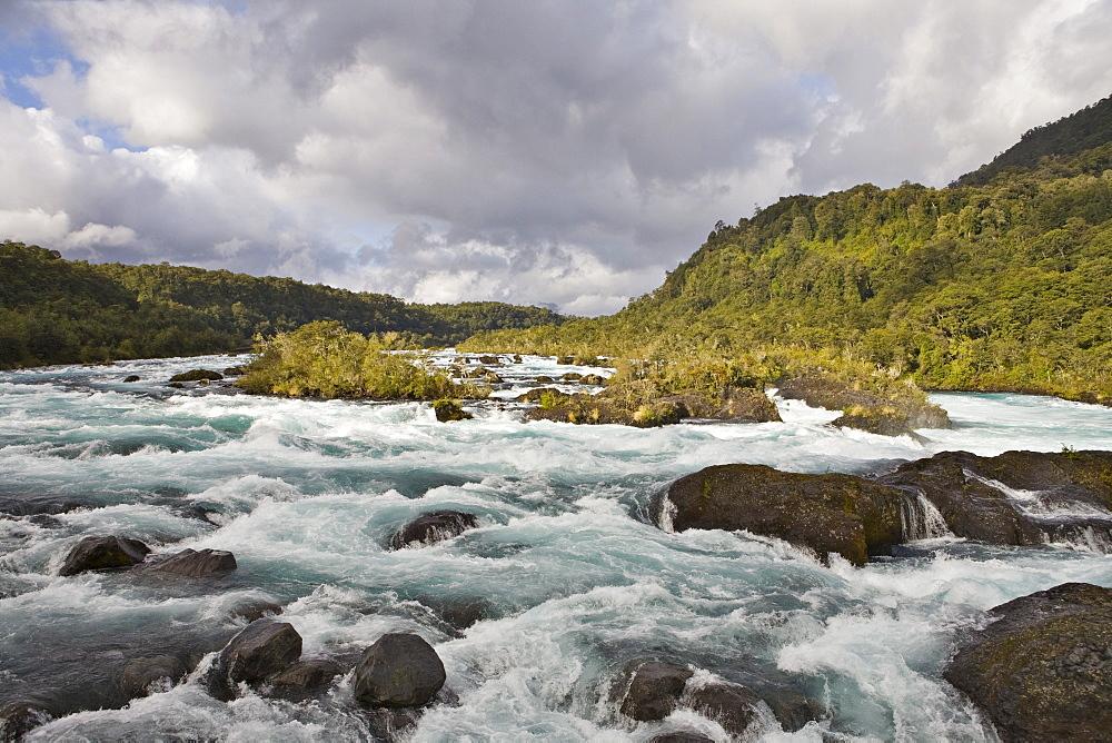 Rapids, Petrohue River, Vicente Perez Rosales National Park, Region de los Lagos, Chile, South America
