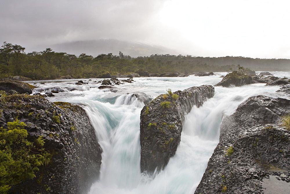 "Petrohue Waterfalls (""Saltos del Petroehue"") at Petrohue River, Vicente Perez Rosales National Park, Region de los Lagos, Chile, South America"