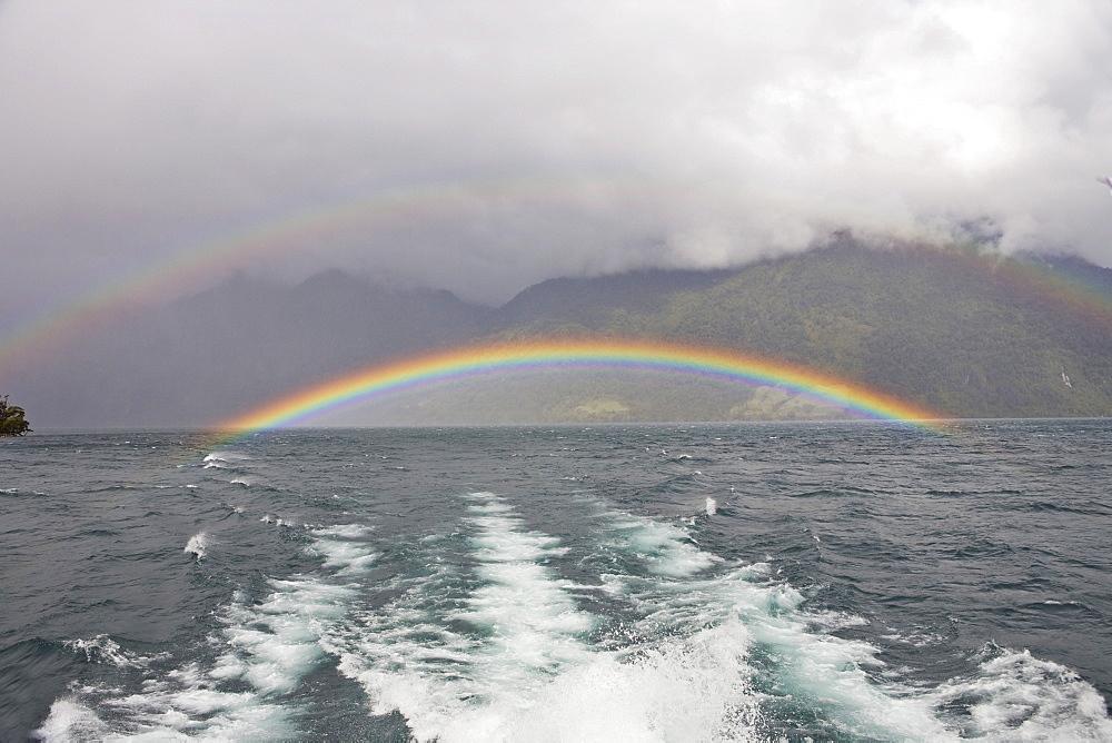 Rainbow over Lago Todo los Santos, Vicente Perez Rosales National Park, Region de los Lagos, Chile, South America