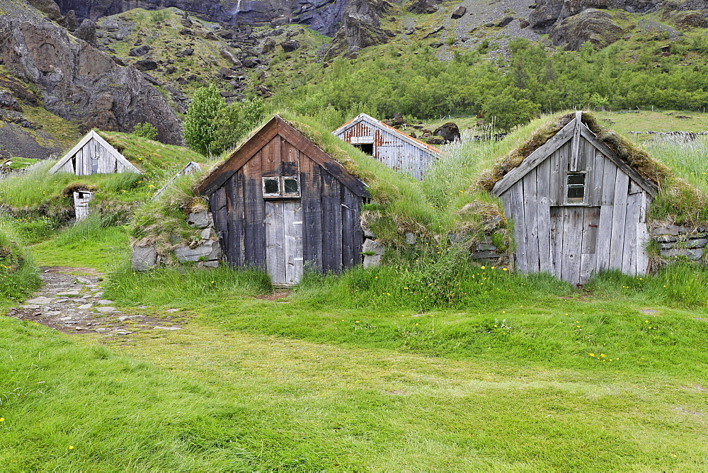 Nupsstaur farmyard, southern coast of Iceland, Atlantic Ocean