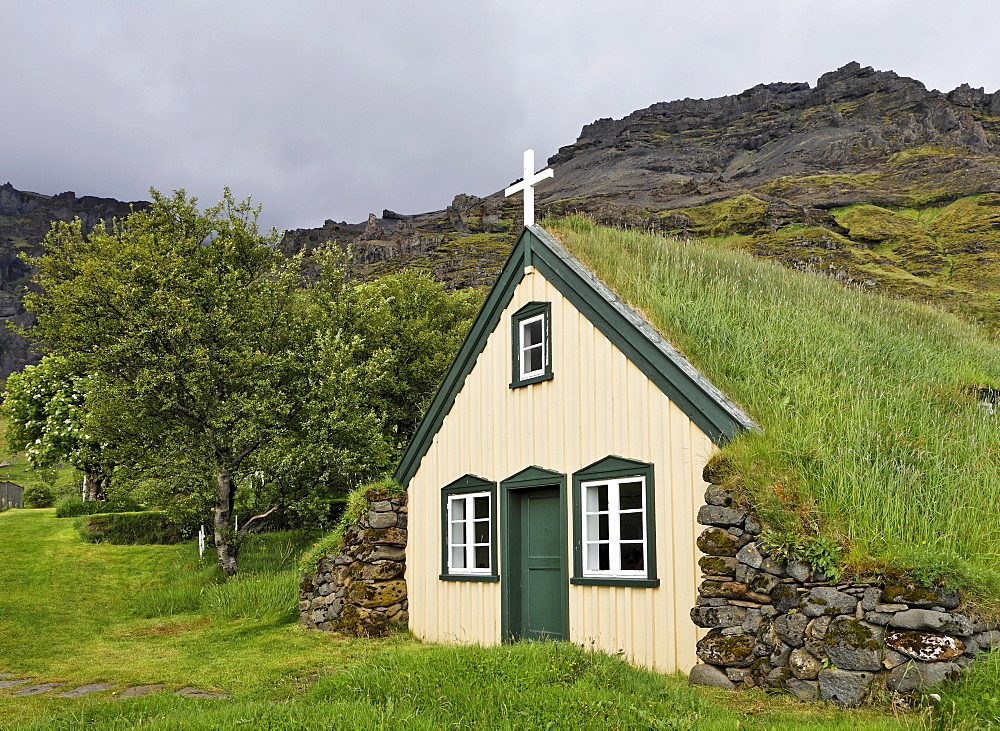 Sod church, southern coast of Iceland, Atlantic Ocean