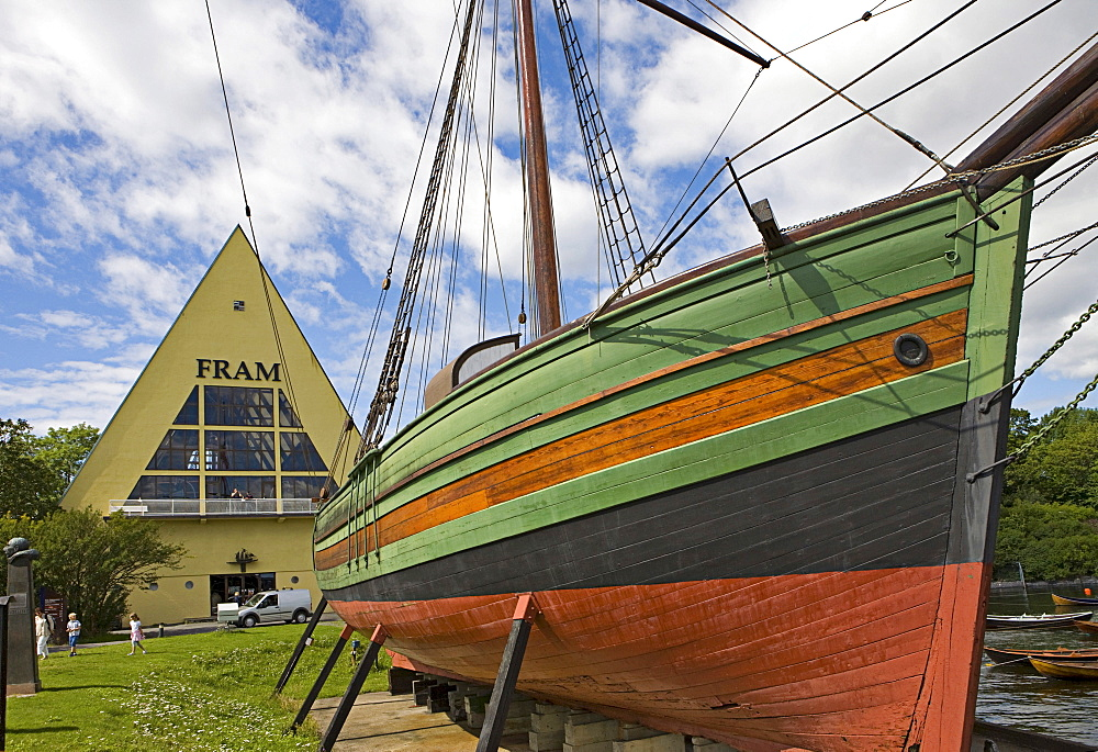 Gjoa, first ship to transit the Northwest Passage in 1906, in front of the Fram Museum on Bygdoy Peninsula, Oslo, Norway, Scandinavia, Europe