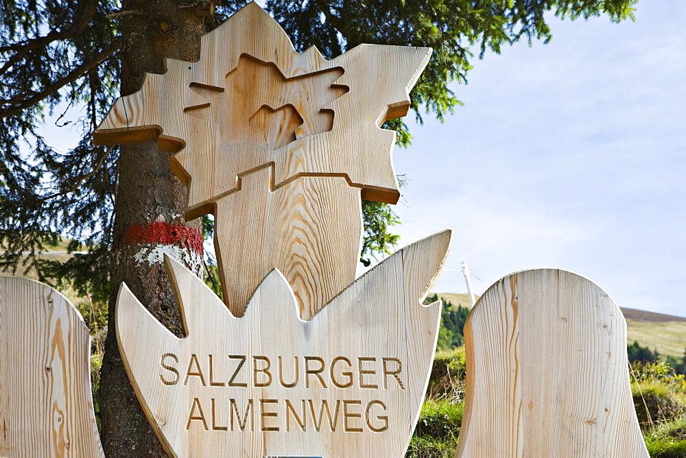 "Wooden logo of the ""Salzburger Almenwege, "" Grossellmaualm, Grossarltal, Salzburg, Austria, Europe"