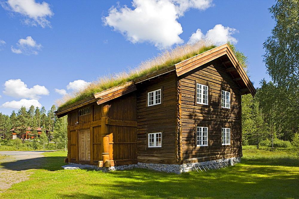 Thatch-roofed wood house in Jondalen, Norway, Scandinavia, Europe