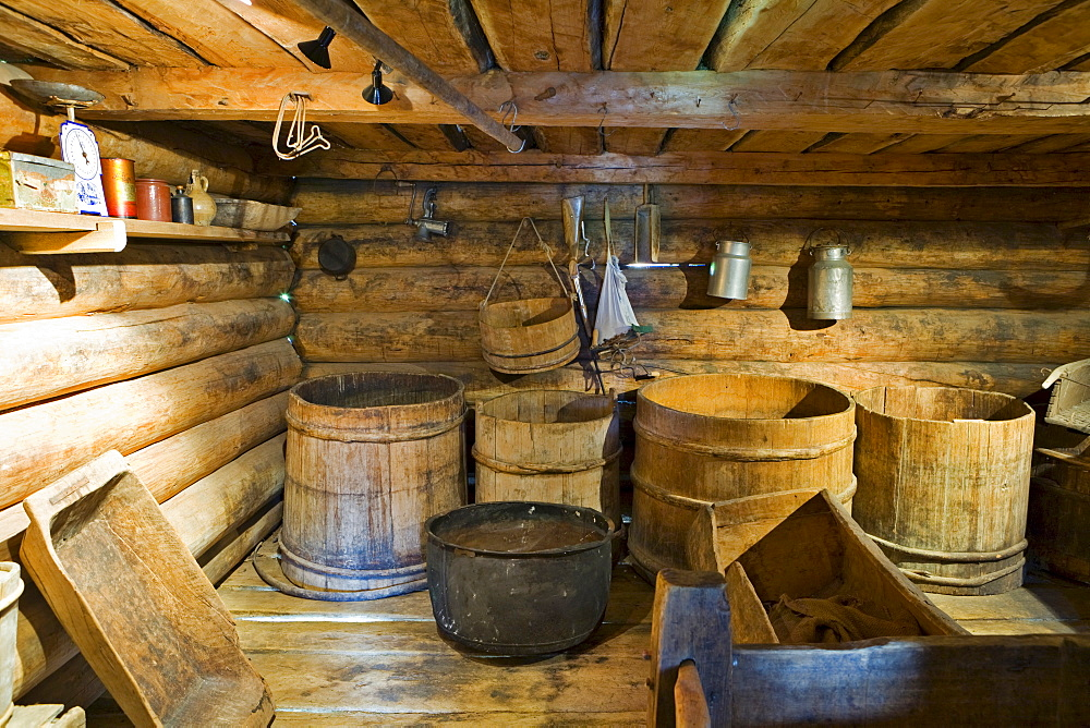 Wooden barrels in an attic at the living history museum in Uvdal, Norway, Scandinavia, Europe