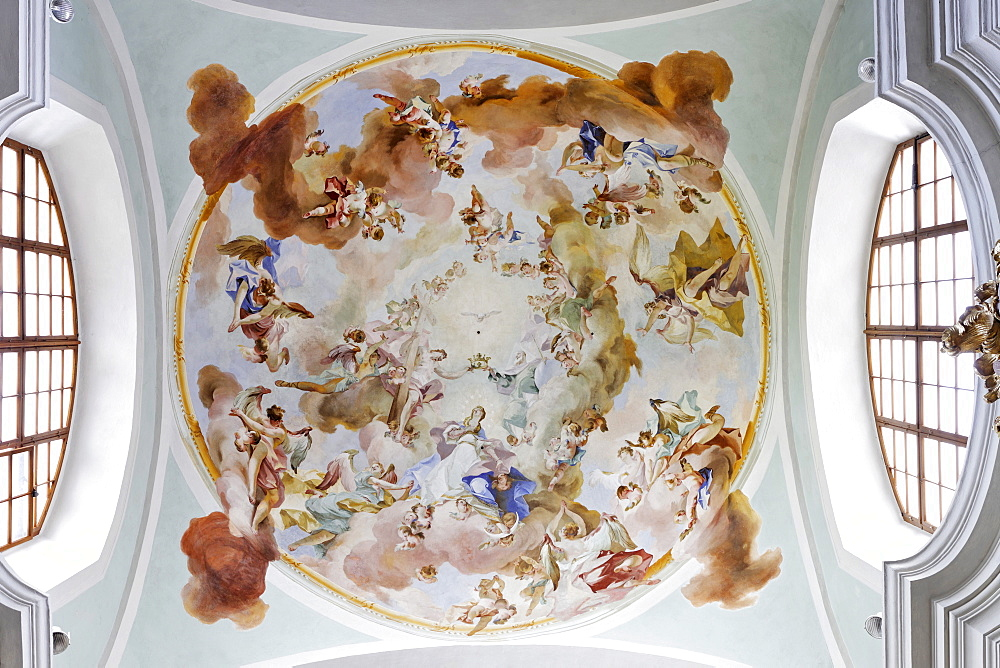Ceiling frescoes, Mariazell Cloister, Klein-Mariazell, Triestingtal (Triesting Valley), Lower Austria, Austria, Europe