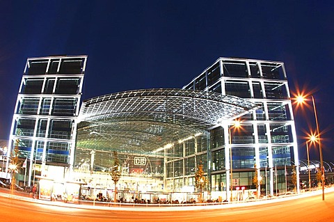 The new main station in Berlin at night, Berlin, Germany