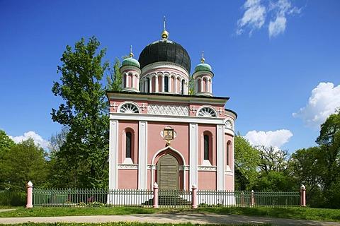 Russian-orthodox Alexander Nevsky Cathedral, Kapellenberg, Alexandrowka, Russian colony, Potsdam, Brandenburg, Germany, Europe