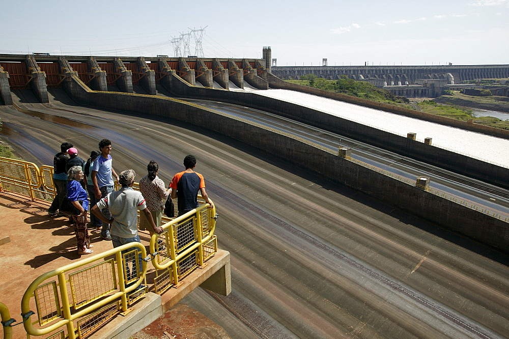 Dam, hydroelectric power station Itaipu at the Rio Parana, viewpoint for visitors, Paraguay, South America