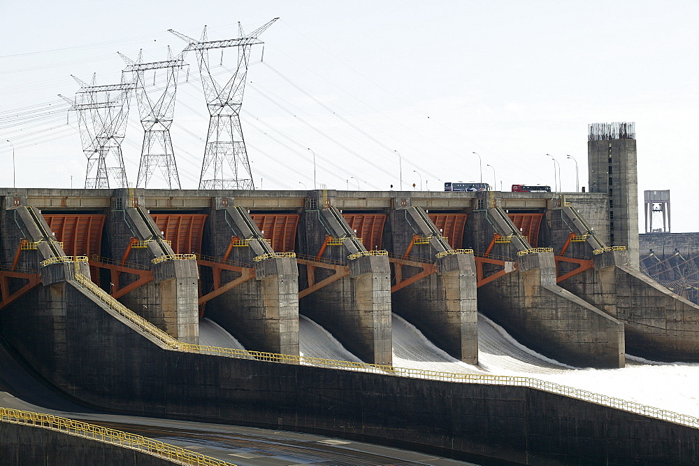 Dam, hydroelectric power station Itaipu at the Rio Parana, retaining wall, Paraguay, South America