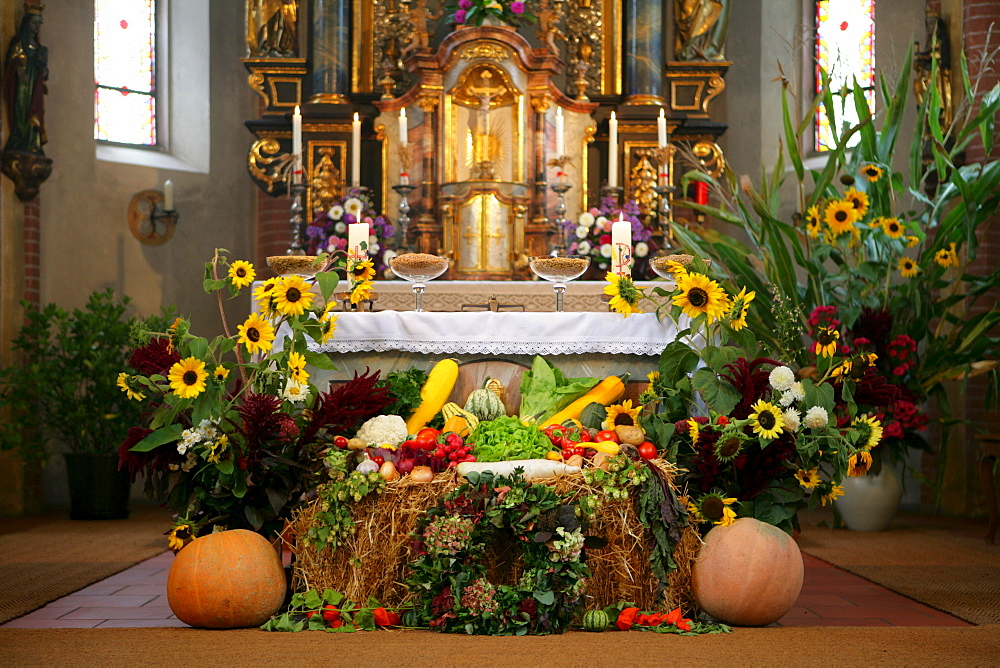 Thanksgiving altar in gothic choir of the church of pilgrimage, Holzhausen, Upper Bavaria, Germany