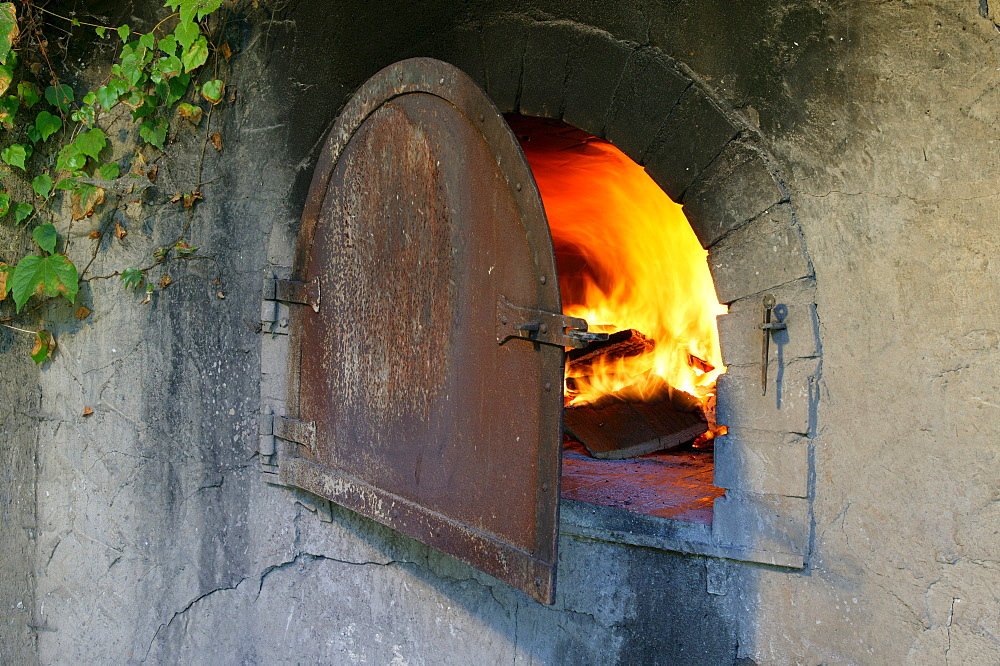 Fire in the baking oven, Bavarian Forest, Bavaria, Germany