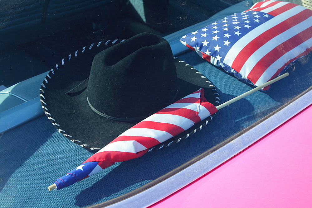 USA symbols on the back shelf of a road cruiser, Automotive parts market and vintage car meeting, Muehldorf am Inn, Upper Bavaria, Bavaria, Germany
