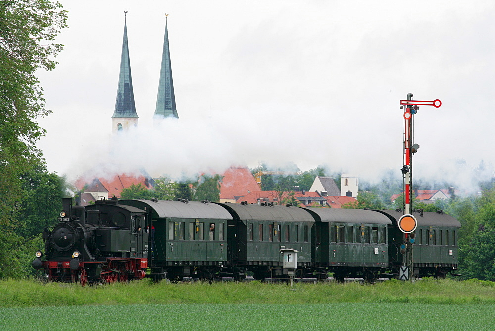 Historical steam train, Altoetting, Upper Bavaria, Bavaria, Germany