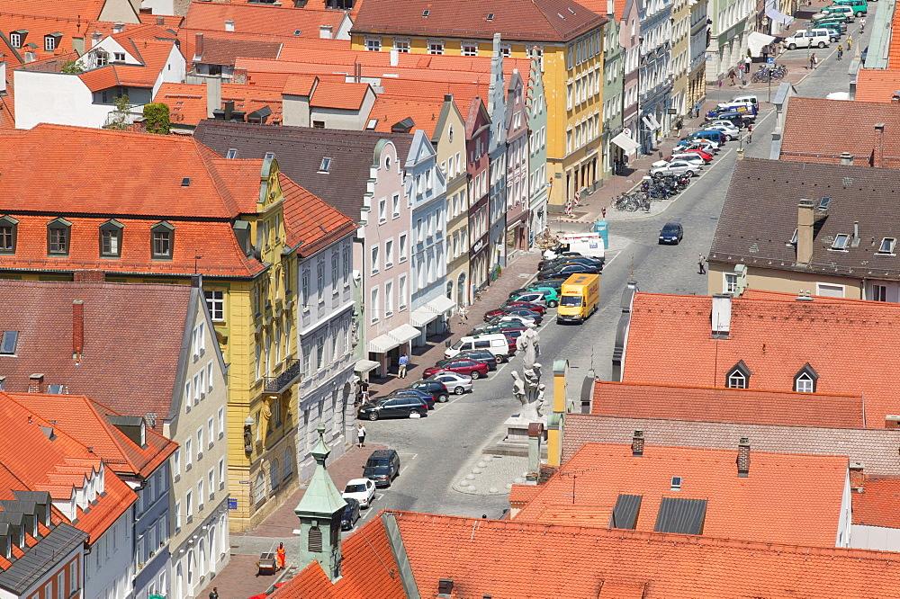 View from Trausnitz Castle on Landshut, Lower Bavaria, Bavaria, Germany