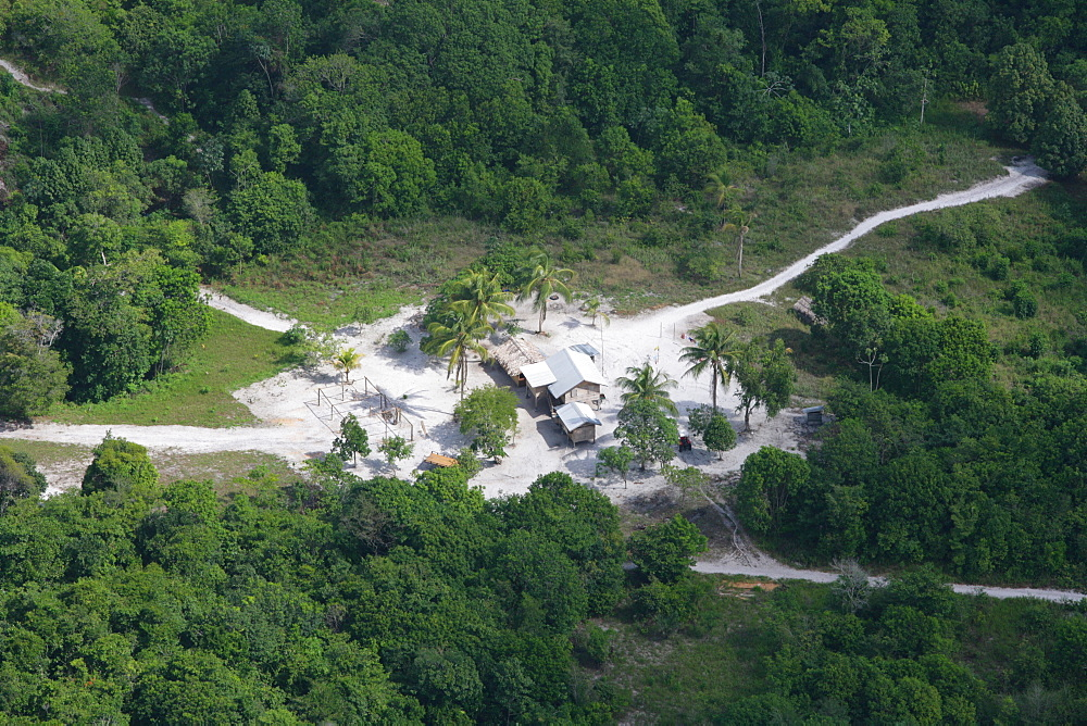 Aerial view of a new housing development in the rainforest, Guyana, South America