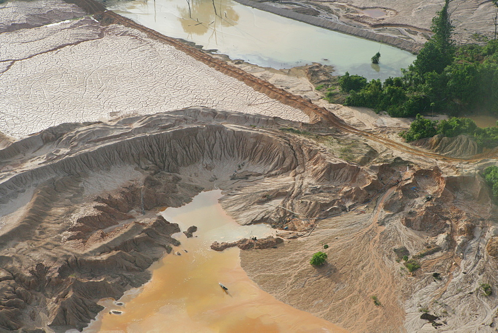 Aerial shot, silting the rainforest after mining, Guyana, South America