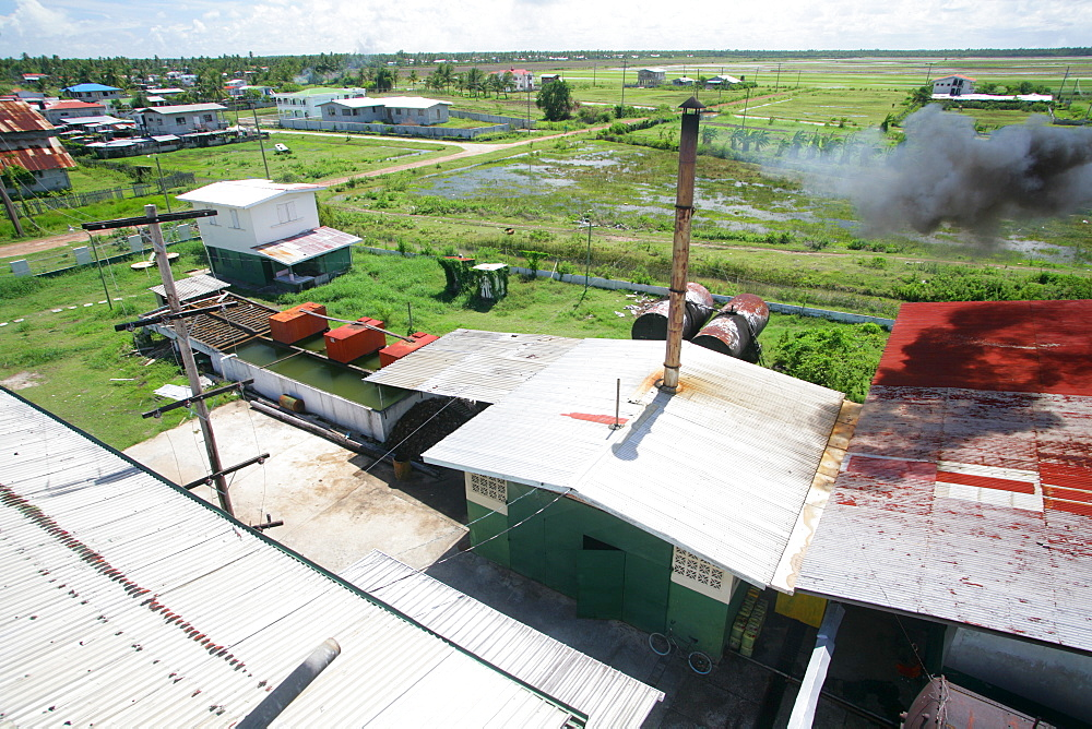 Corrugated iron roofs of the coconut processing factory, Georgetown, Guyana, South America