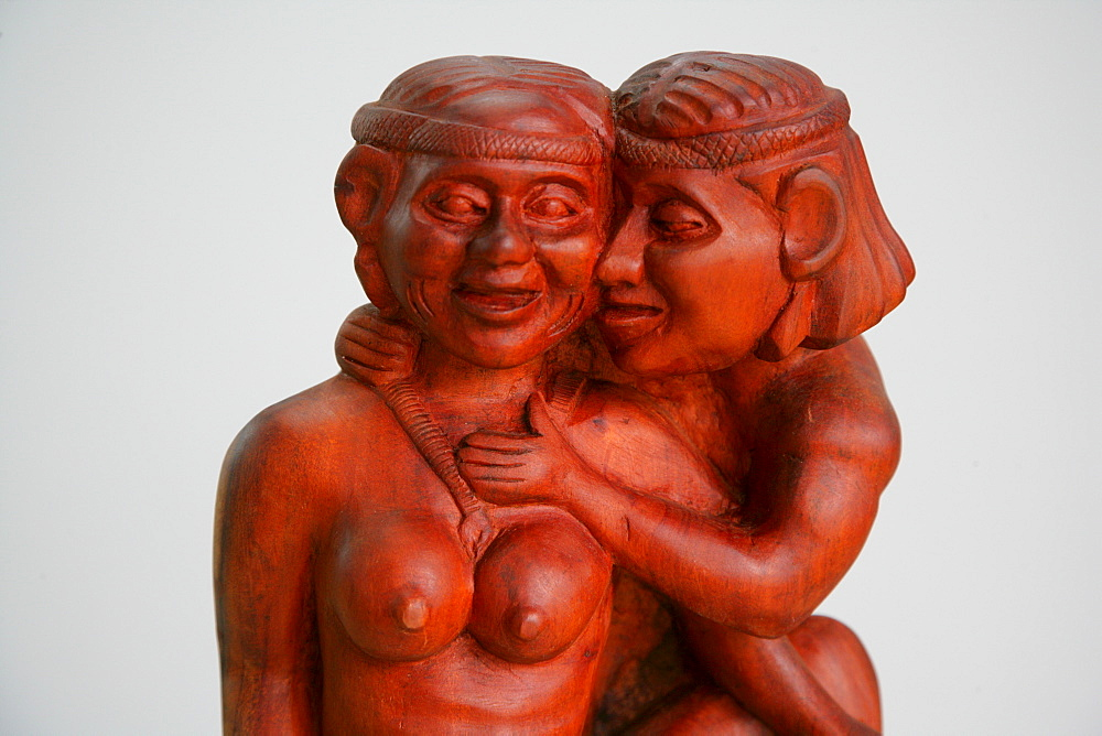 Teak carving, Amerindian lovers, indigenous art, Guyana, South America