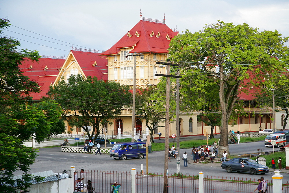 Street scene, colonial house in Georgetown, Guyana, South America