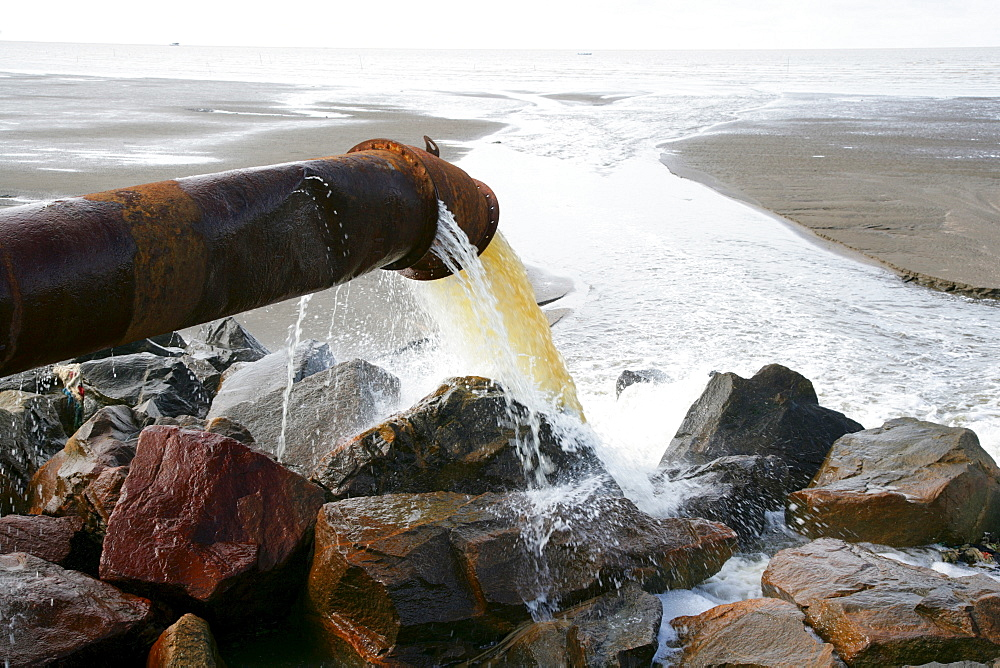 Untreated sewage being pumped into the ocean in Georgetown, Guyana, South America