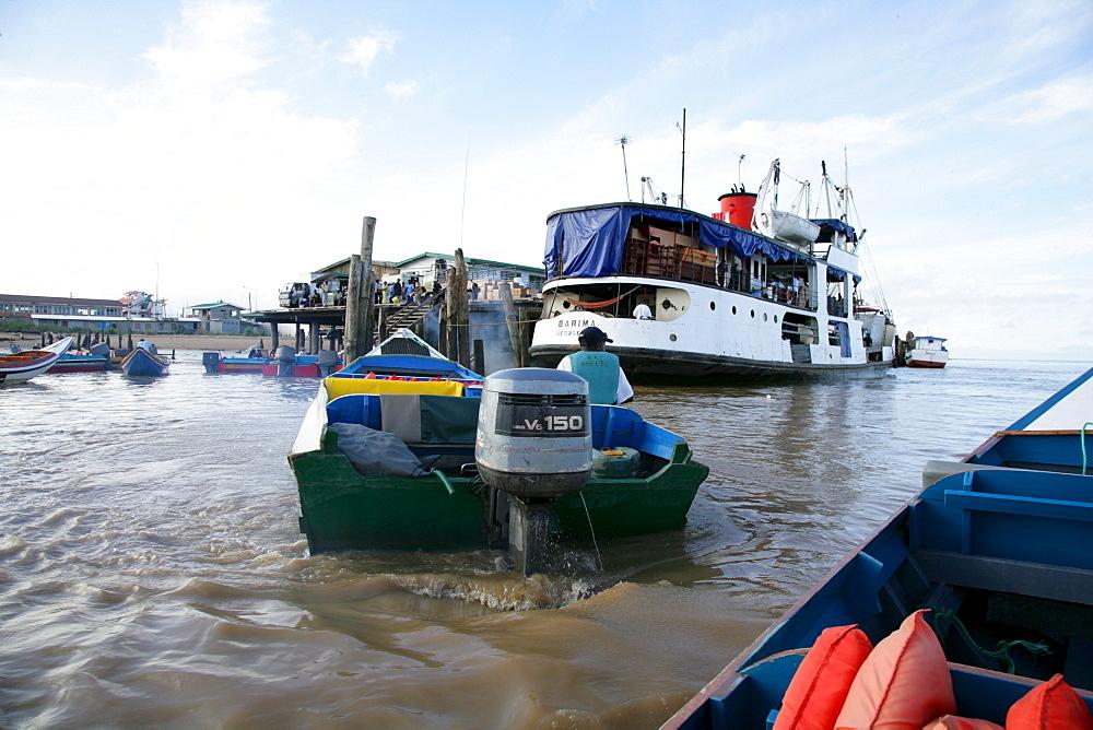 Passenger traffic dock along the Demerara River in Georgetown, Guyana, South America