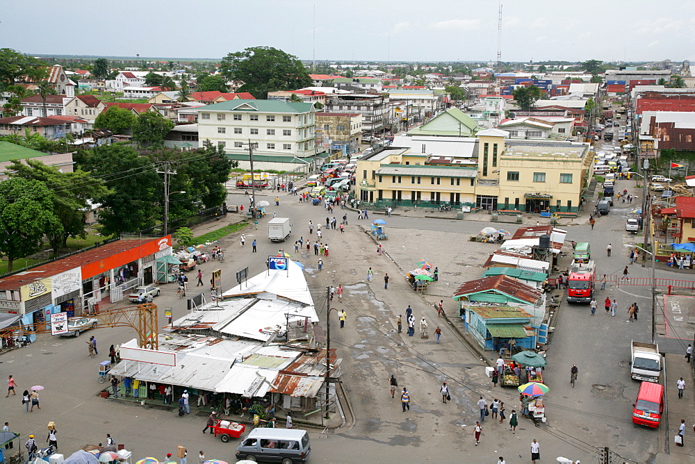 View of the central marketplace and its corrugated iron booths in Georgetown, Guyana, South America