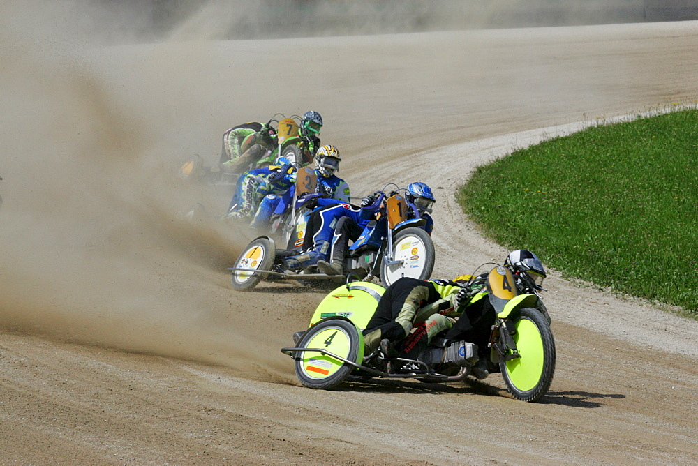 Motorcycle sidecars, international motorcycle race on a dirt track speedway in Muehldorf am Inn, Upper Bavaria, Bavaria, Germany, Europe