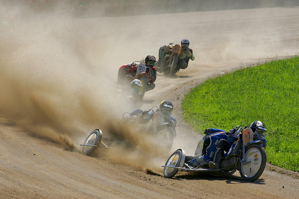 Sidecar motorcycles, international motorcycle race on a dirt track speedway in Muehldorf am Inn, Upper Bavaria, Bavaria, Germany, Europe