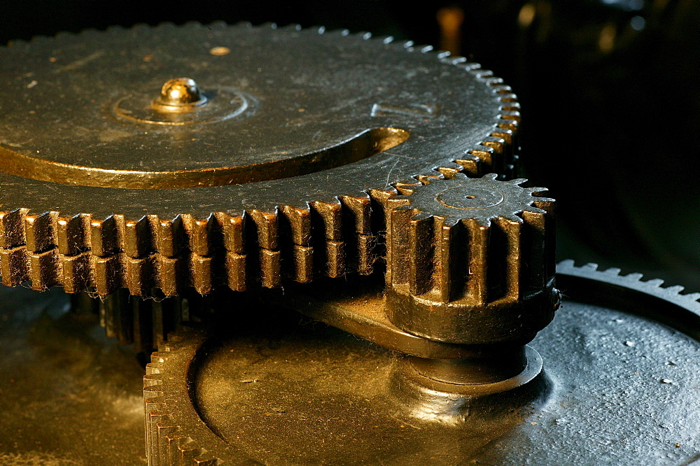 Cogwheels at an old hydroelectric power station, Isen, Upper Bavaria, Bavaria, Germany, Europe