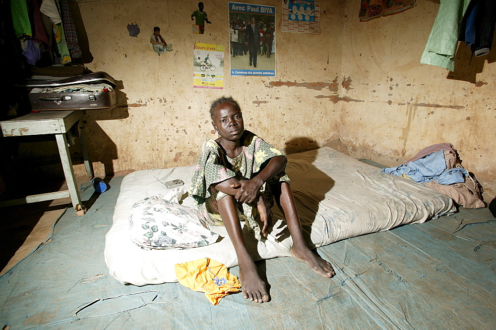 HIV/AIDS-infected woman at a hospital shelter, Cameroon, Africa