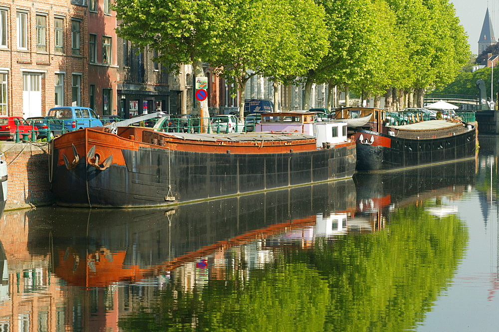 Canals, Ghent, East Flanders, Belgium, Europe