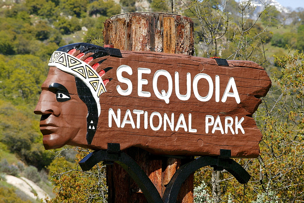 Sign, Sequoia National Park, California, USA, North America