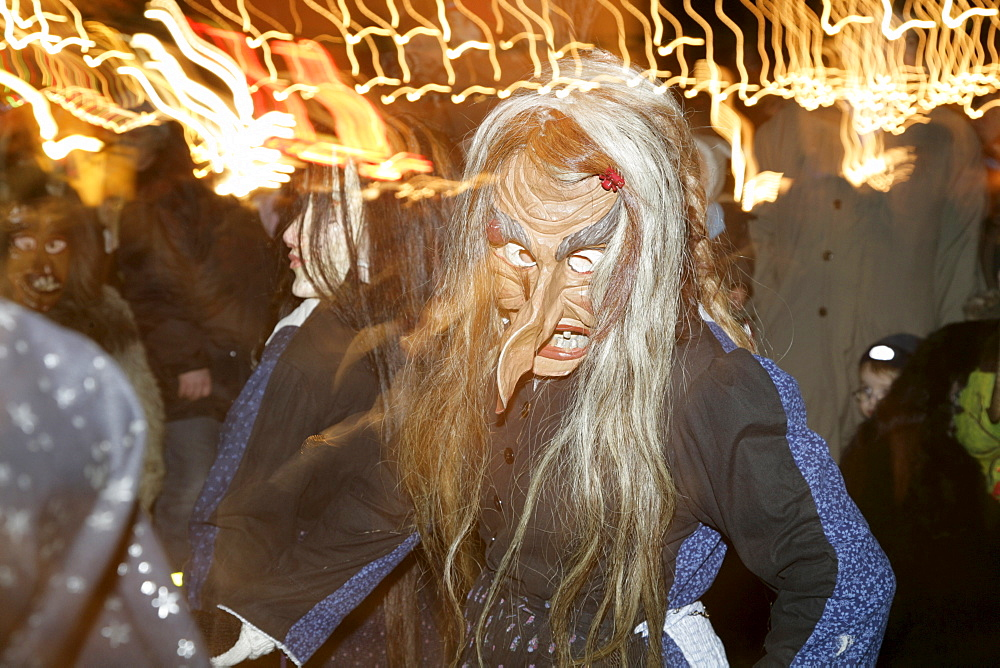 Drudes, masked witches, German folklore, Christmas market, Muehldorf am Inn, Upper Bavaria, Bavaria, Germany, Europe