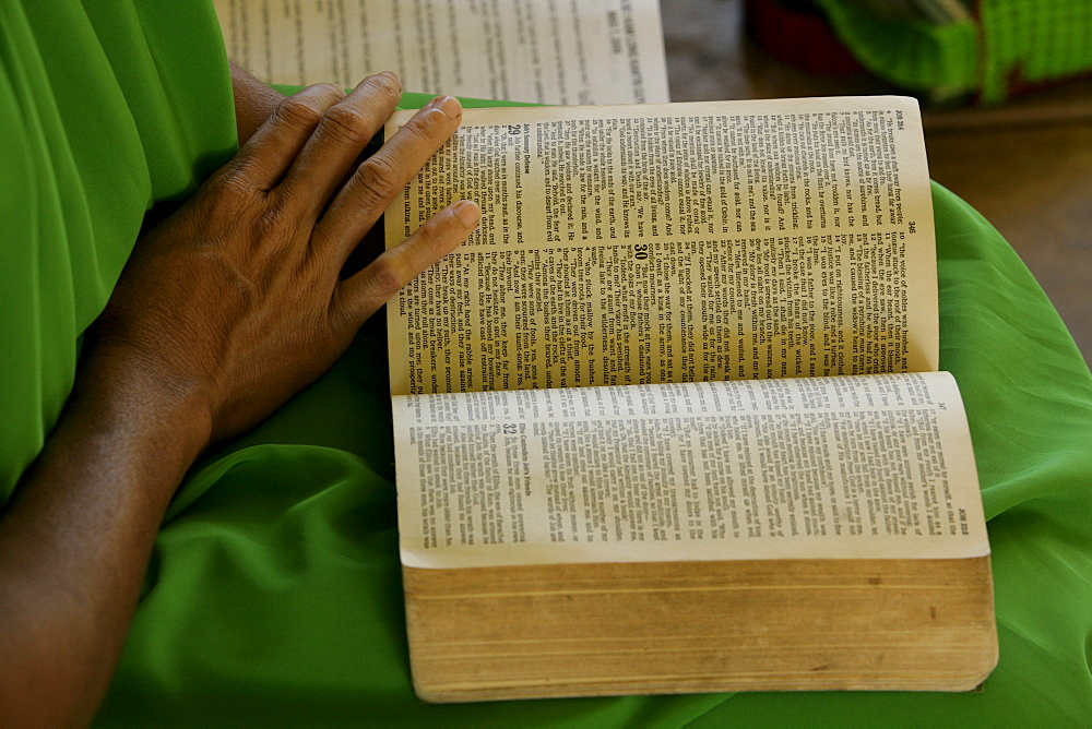 Hymn book, during a church service, Madang, Papua New Guinea, Melanesia