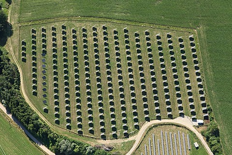 Photovoltaic installation in the fields, Altoetting, Upper Bavaria, Germany, Europe