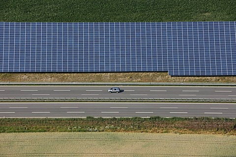 Photovoltaic installation by the motorway, Muehldorf, Upper Bavaria, Germany, Europe