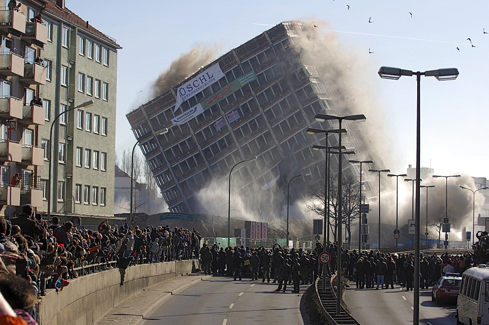 Blowing up the Agfa building, Munich, Upper Bavaria, Bavaria, Germany