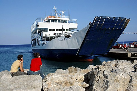 Ferry at the coast in the south of Crete, Greece