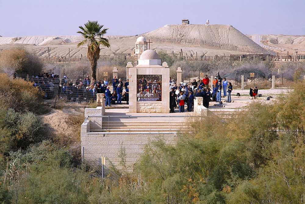 Pilgrims in the West Bank, Palestine, view from the baptism site of Jesus Christ at the River Jordan, Wadi Al-Kharrar, Jordan