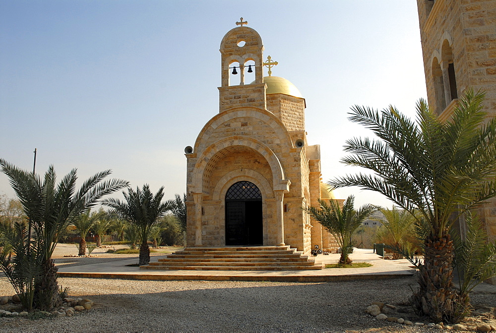 Modern Orthodox Church near the baptism site of Jesus Christ at the River Jordan, Wadi Al-Kharrar, Jordan