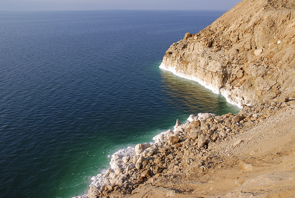 White salt crust at the east bank of the Dead Sea, Jordan