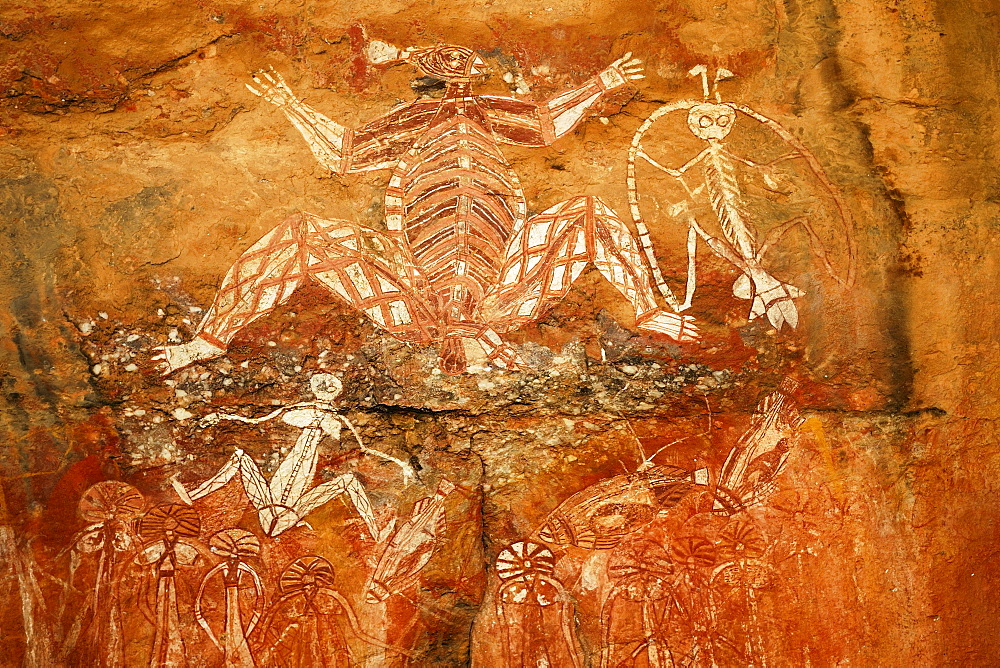 Aboriginal rock paintings at Nourlangie Rock, Kakadu National Park, Northern Territory, Australia