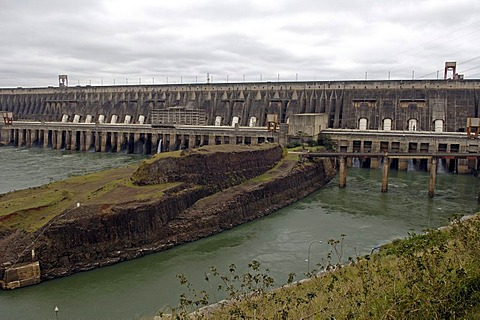 Backside of the dam of itaipu powerhouse, the largest water powerhouse of the world between paraguay and brasil