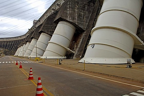 Water intake of itaipu powerhouse, the largest water powerhouse of the world between paraguay and brasil