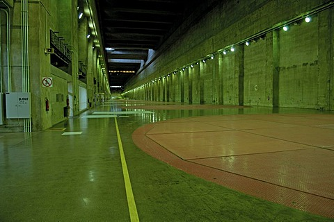 960 meters long hall for the turbines of itaipu powerhouse, the largest water powerhouse of the world between paraguay and brasil